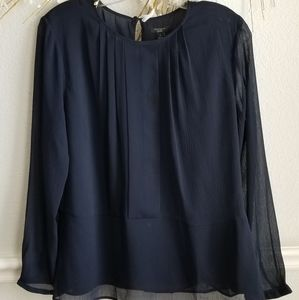 Beautiful Navy Chiffon Blouse Sheer sleeved LP